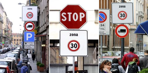 Two 30kph zones in central Milan
