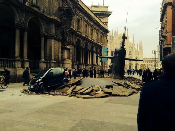 Submarine surfaces near Duomo