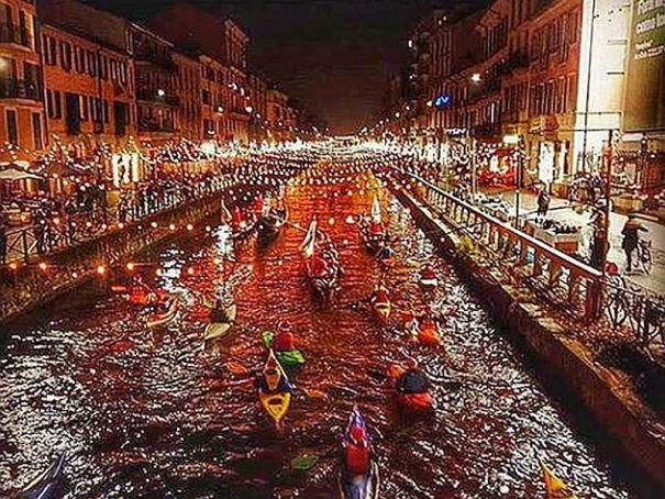 Waterborne concert on Milan's Navigli