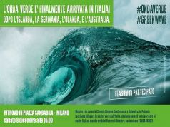 Green wave demo in central Milan on 8 December