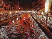 Waterborne concert on Milan's Navigli